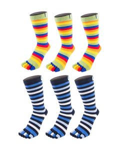 6 Pair Pack - Essential - High-Crew Stripy