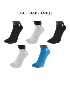 5 PAIR PACK - ESSENTIAL - MINI-CREW (BLACK,WHITE & TURQUOISE)