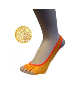 YOGA&PILATES - Anti-Slip Sole Footie Open Toe - Orange - US M 4.5-11.5 | F 6-13