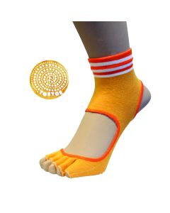 YOGA&PILATES - Anti-Slip Sole Micro-Crew Open Toe&Heel - Orange - US M 3.5-6 | F 5-7.5