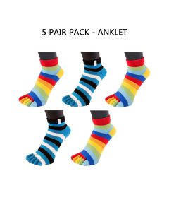 5 PAIR PACK - ESSENTIAL - MINI-CREW (RAINBOW & STRIPY TURQUOISE)